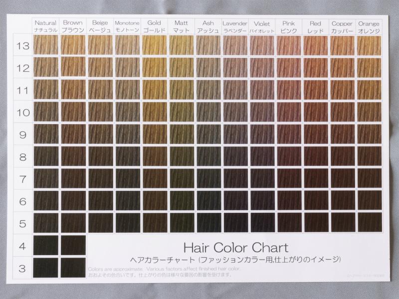 カラー チャート 髪